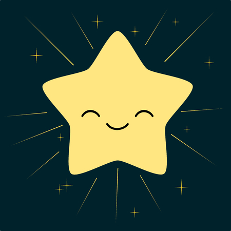 glowing skin: isolated cute cartoon star in the sky vector illustration Illustration