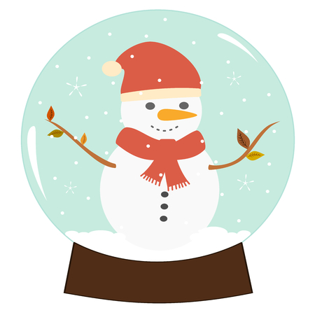 christmas snow globe: cartoon flat cute christmas snow globe with snowman isolated. vector illustration on white background