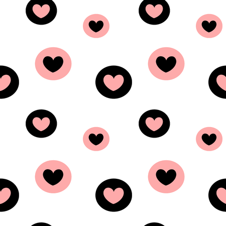 black white pink background vector illustration seamless pattern with hearts in the circles