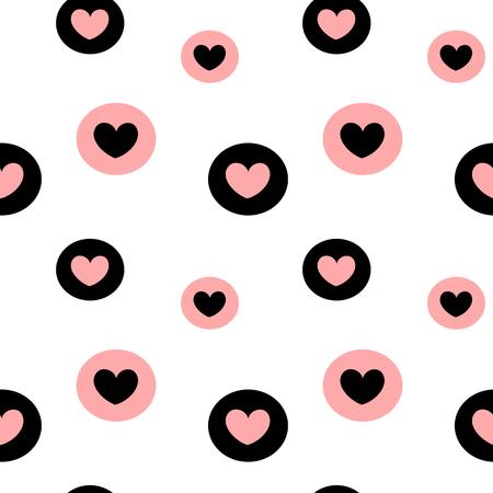 zwart wit roze achtergrond vector illustratie naadloze patroon met hartjes in de cirkels