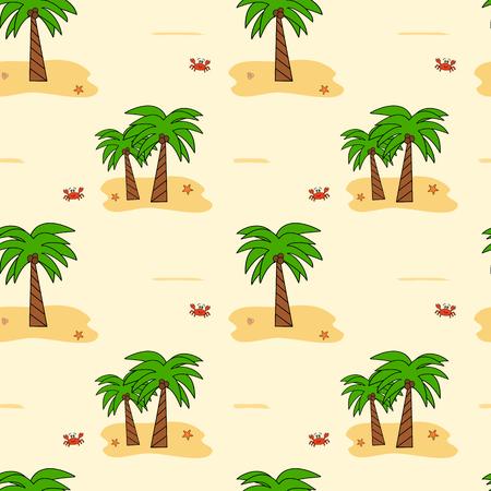 coconut crab: cute cartoon coconut palm tree seamless pattern vector background illustration Illustration