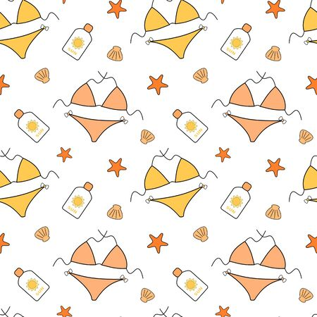 sexy bikini girl: cute cartoon vector seamless bikini background pattern illustration