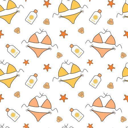 cartoon person: cute cartoon vector seamless bikini background pattern illustration