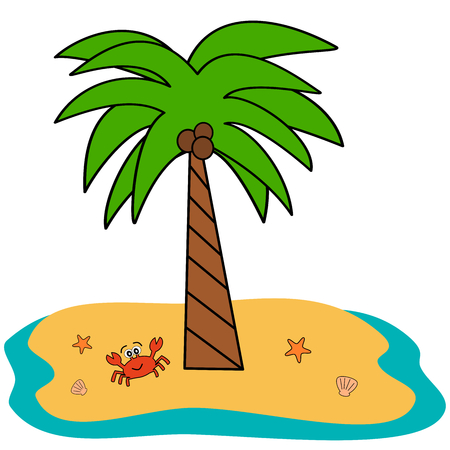 green crab: cartoon isolated tropical coconut palm tree on white background vector cute illustration