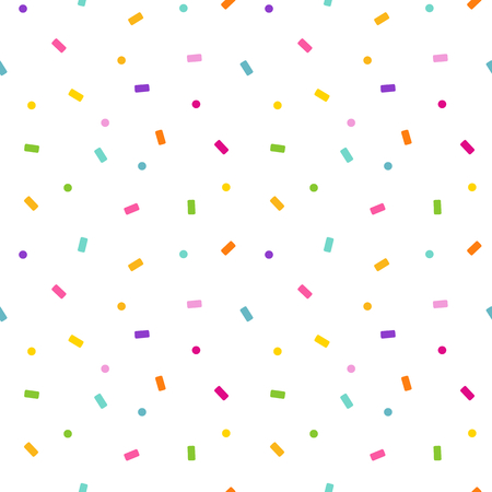 regenboog kleurrijke naadloze vector achtergrond patroon illustratie met dalende papier confetti en stippen