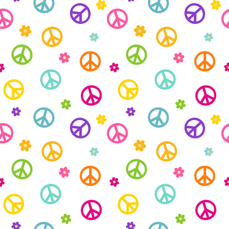 rainbow colorful cute peace symbol seamless pattern vector background illustration 向量圖像