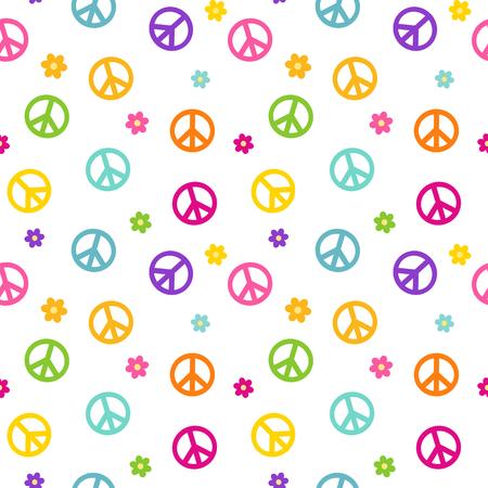 rainbow colorful cute peace symbol seamless pattern vector background illustration Illustration