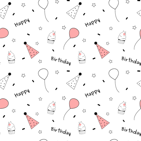 article of clothing: black white pink cute lovely happy birthday vector seamless background pattern illustration