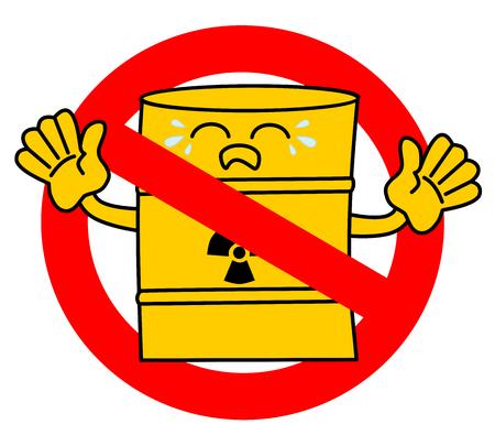toxic waste: no road sign with cute cartoon sad toxic waste barrel concept vector illustration