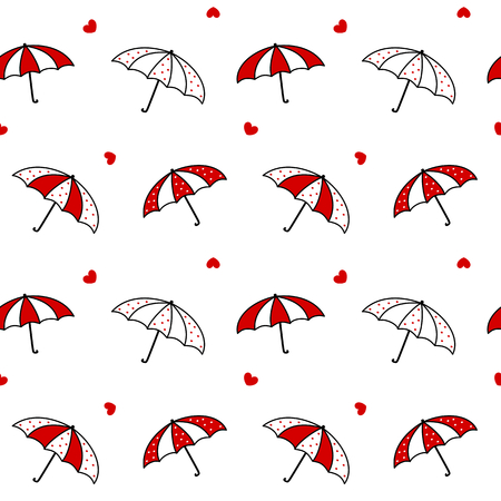 black white red: cute cartoon black white red umbrella vector pattern background seamless illustration Illustration
