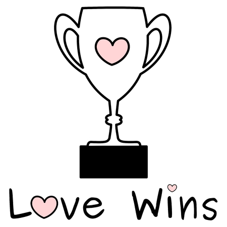 odds: cute black white pink love wins odds with lovely trophy vector illustration