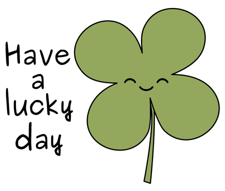 leafed: have a lucky day shares with four leaf clover vector illustration