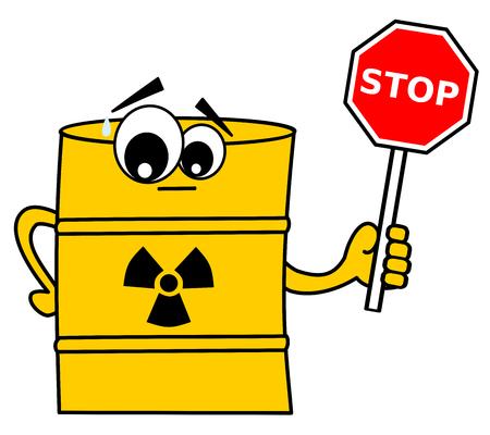 residuos toxicos: linda de la historieta residuos t�xicos barril de color amarillo con el concepto divertida ilustraci�n vectorial se�al de stop Vectores