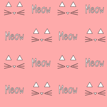 meow: meow cat on pink background seamless pattern vector illustration Illustration