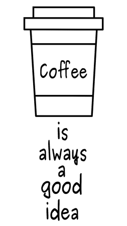 odds: black and white coffee is always a good idea vector illustration odds with paper coffee cup