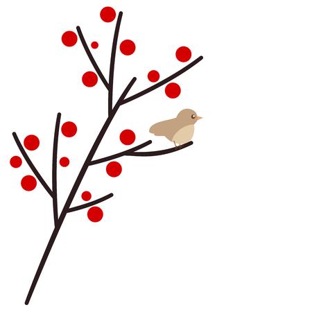 little bird: cute little bird on branch vector illustration