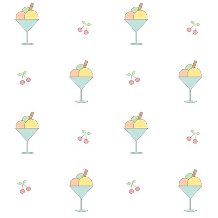 ice cream cup: Cute cartoon ice cream cup seamless pattern vector background illustration
