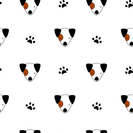 paw russell: seamless vector background pattern illustration with cartoon jack russell and paw print
