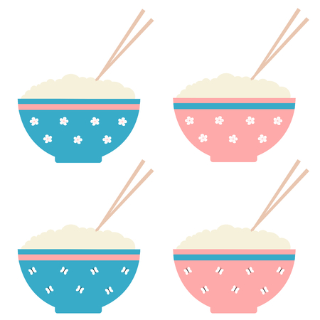 cute cartoon rice bowl set vector illustration Illustration
