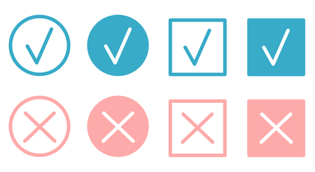 Check marks and crosses flat buttons vector set Illustration