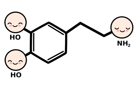 moods: cute cartoon dopamine molecule structure vector illustration