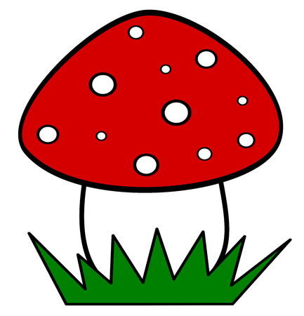cute cartoon red mushroom isolated on white background vector illustration