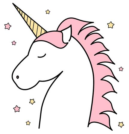 Vector Unicornio Lindo Del Dibujo Animado Con Las Estrellas