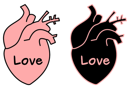 black pink human hearts with love word vector concept illustration Illustration