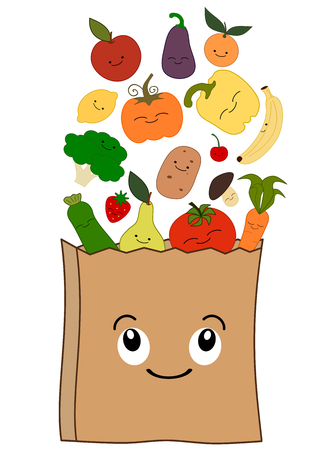 apples and oranges: cute cartoon grocery bag with healthy food concept vector illustration happy
