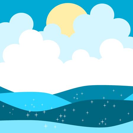 cute cartoon sea ocean vector illustration