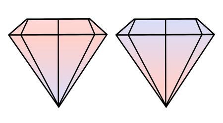 watercolor pink blue diamonds crystals September illustration