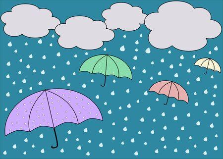 rainy sky: Rainy blue sky with colorful umbrellas Stock Photo