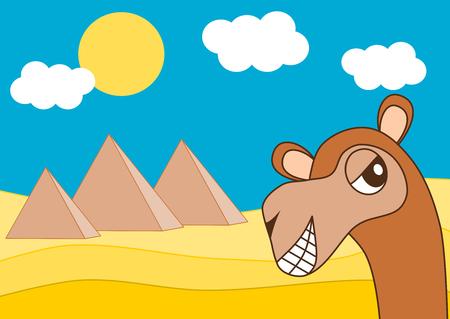 Egypt pyramid and the happy dromedary funny cartoon illustration