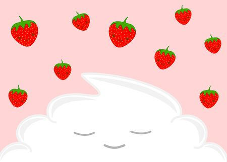whipped cream: happy strawberries and the whipped cream funny cartoon illustration