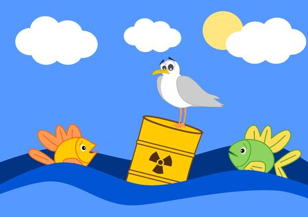 toxic waste: Toxic waste in the ocean and the afraid fish cartoon illustration Stock Photo