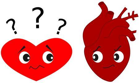 Heart versus real human heart funny cartoon illustration Stock Photo
