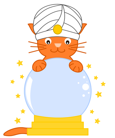 predict: cat predict future magic crystal ball with funny cartoon illustration Stock Photo