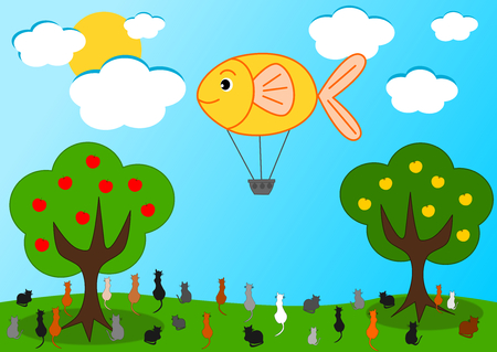 balon de basketball: El globo de aire caliente de pescado y la ilustración de dibujos animados divertido gatos hambrientos