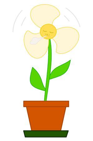 Flower fan cute cartoon illustration Stock Photo
