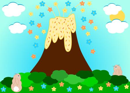 erupt: Volcano erupting flowers cute cartoon illustration