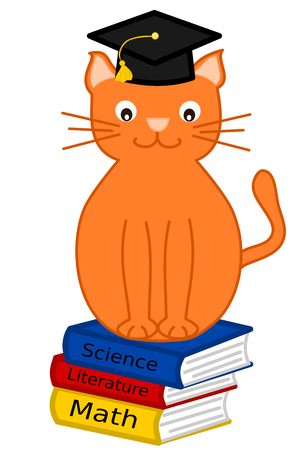 Orange funny cartoon cat graduate illustration