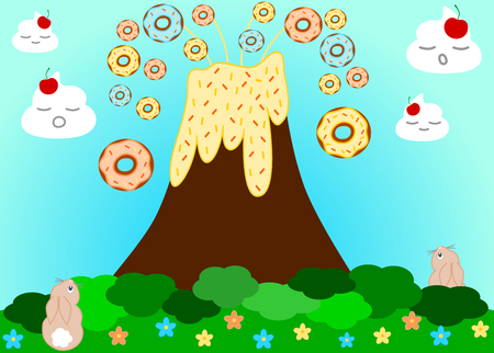 erupting: Volcano erupting donuts funny cartoon illustration