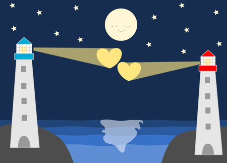 long distance: lighthouse in the distance a romantic scenes about love cartoon illustration