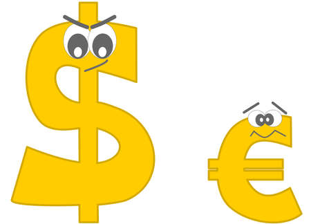 duel: strong dollar and the euro afraid funny cartoon illustration