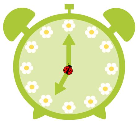 mechanical back: cute green alarm clock with daisy flower cute illustration Stock Photo