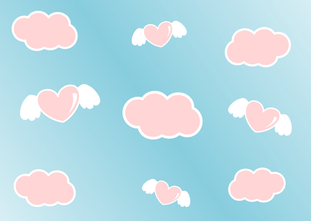 cartoon cute pink sky with clouds and angel heart