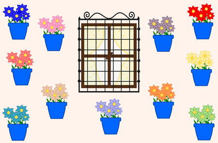 garden patio: cordoba and the pots with colorful flowers illustration