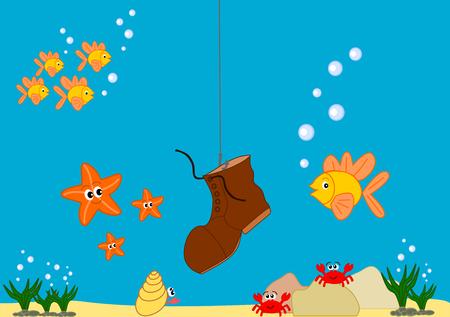 Funny and cute cartoon sea life illustration