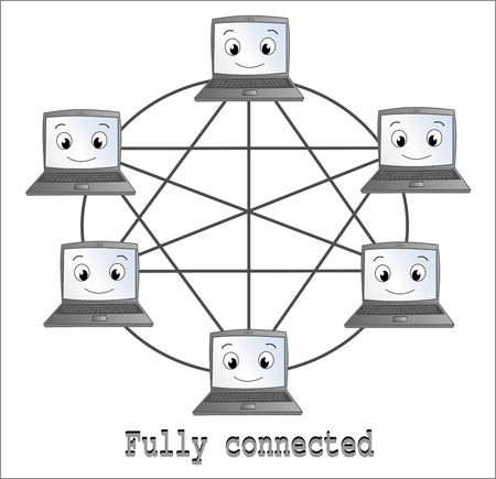 middleware: Fully connected network illustration cartoon
