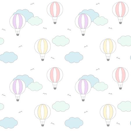 balon de basketball: colorful cute cartoon air balloon in the sky vector background pattern seamless illustration